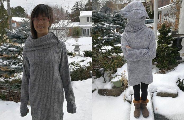 Dziewczyna w swetrze z suwakiem na głowę