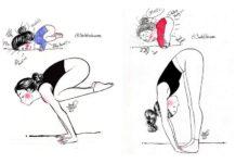 Rysunki przedstawiające uprawianie jogi