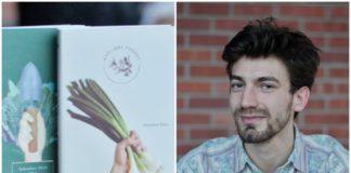 """Okładki kalendarza """"Roślinne Porady"""" i mężczyzna obok"""