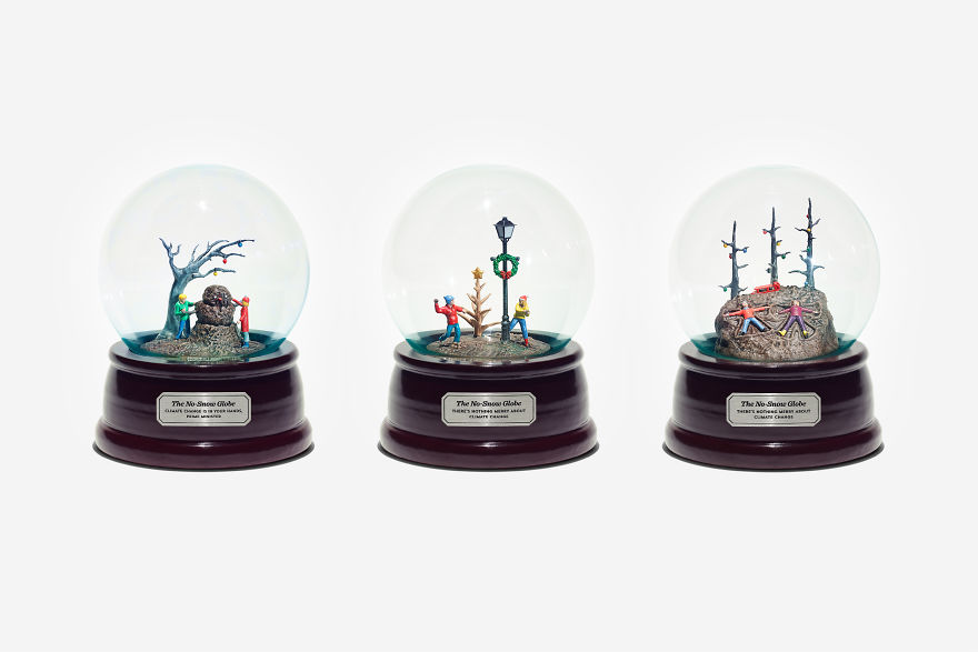 Trzy szklane kule śniegowego