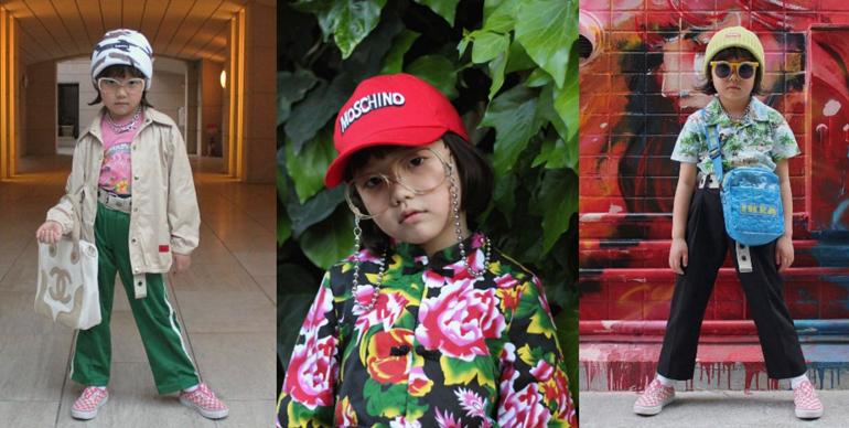 3 zdjecia Azjatyckiej dziewczynki stojacej na ulicy i pozujacej do zdjecia