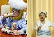 Dwie fotografie przedstawiającą starszą kobietę w przedzwinych stylizacjach