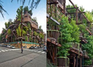 Ekologiczne osiedle porośnięte drzewami