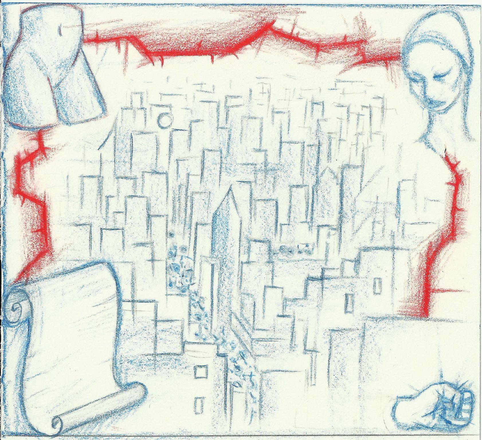 na zdjeciu widzimy rysunek przedstawiajacy zarysy budynkow czerwone kolczaste granice twarzy kobiety w turbanie piesc dolna czesc manekina oraz kartka zawinietego papieru