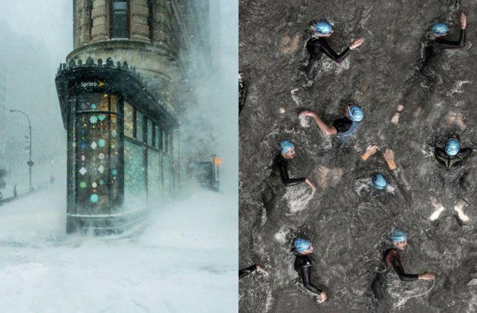 Zdjęcie ośnieżonego budynku i pływających mężczyzn