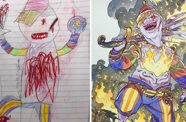 Superbohater namalowany przez dziecko i przez artystę