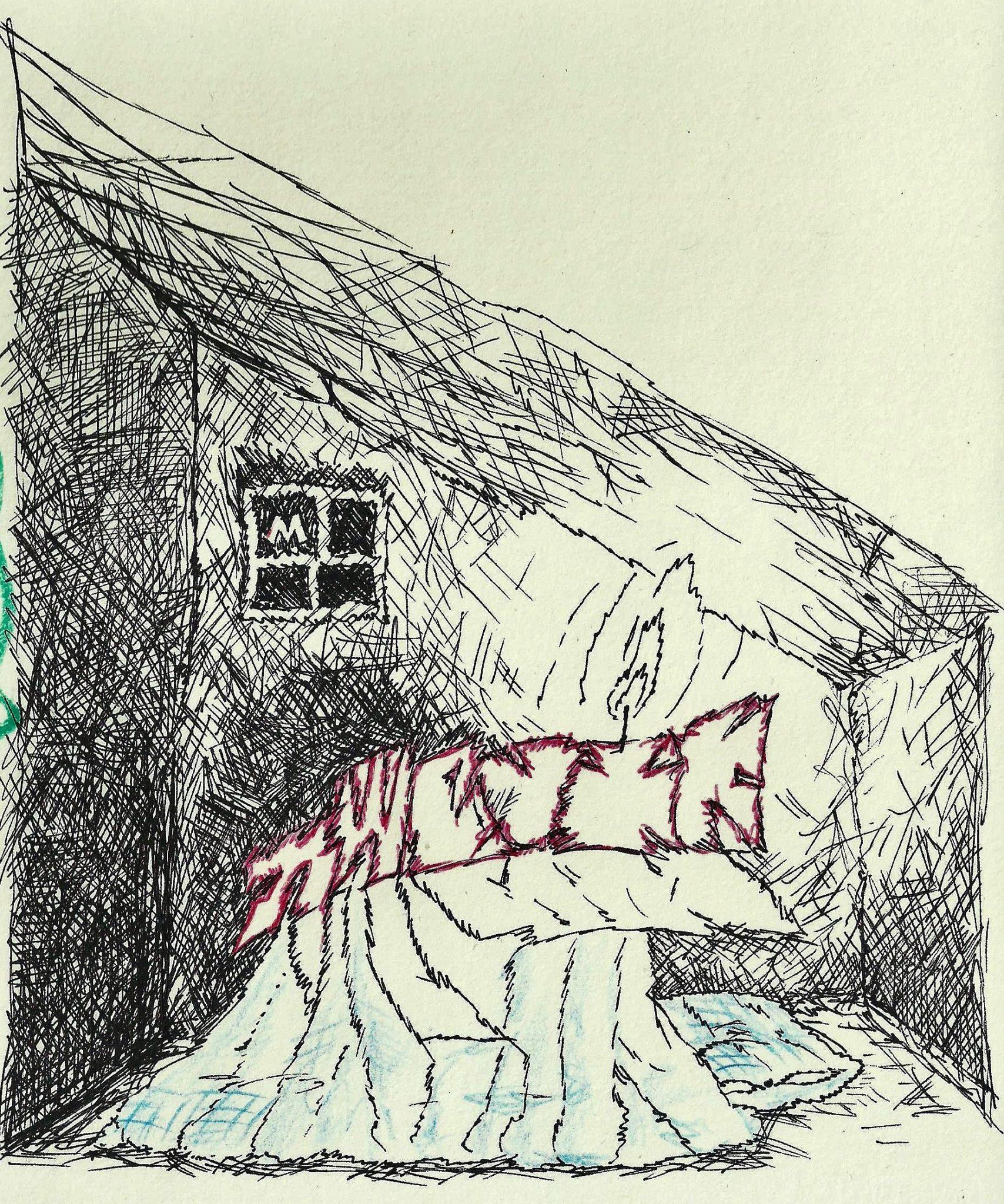 na zdjeciu widzimy rysunek narysowany czarna kreska przedstawia ciemny pokoj wieczorem w ktorym znajduje sie lozko i okno