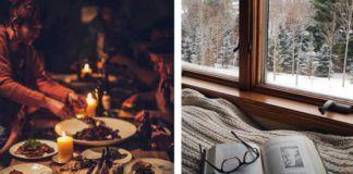 stol zastawiony jedzeniem, swiecami, kieliszkami, kwiatami