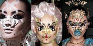 Trzy surrealistyczne makijaże na twarzach kobiet