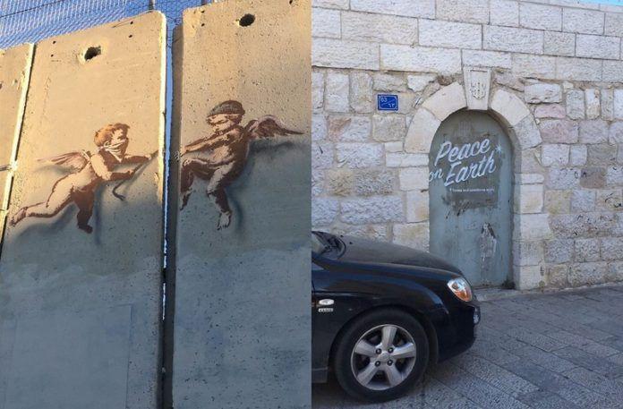 Prace Banksy'ego przedstawiające aniołki oraz drzwi z napisem