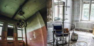 Dwa zdjęcia przedstawiające opuszczone sale szpitalne