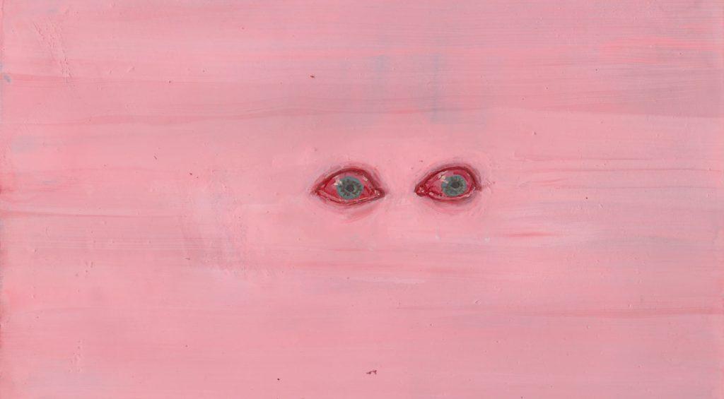 Para oczu na różowym tle