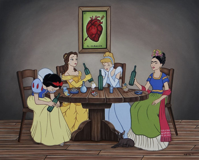 Trzy księżniczki Disney'a i Frida Kahlo siedzą i piją