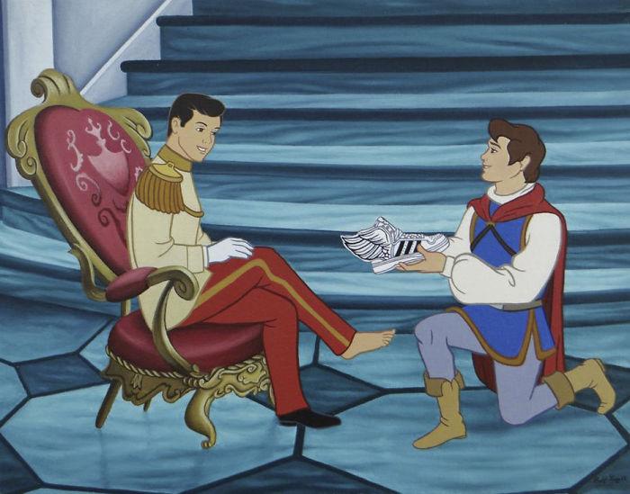 Mężczyzna przymierza drugiemu mężczyźnie but