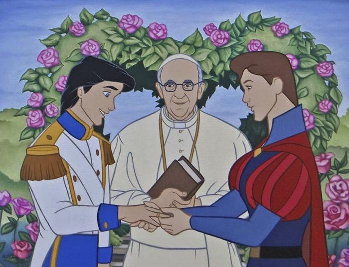 Rysunek przedstawia parę mężczyzn biorących slub przed papieżem