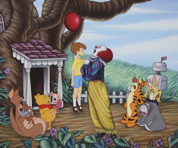 Postacie z Kubusia Puchatka i Krzyś trzymany przez klauna