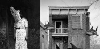 Dwa czarnobiałe zdjęcia: kobieta z płomieniami zamiast głowy i dom z rekinami