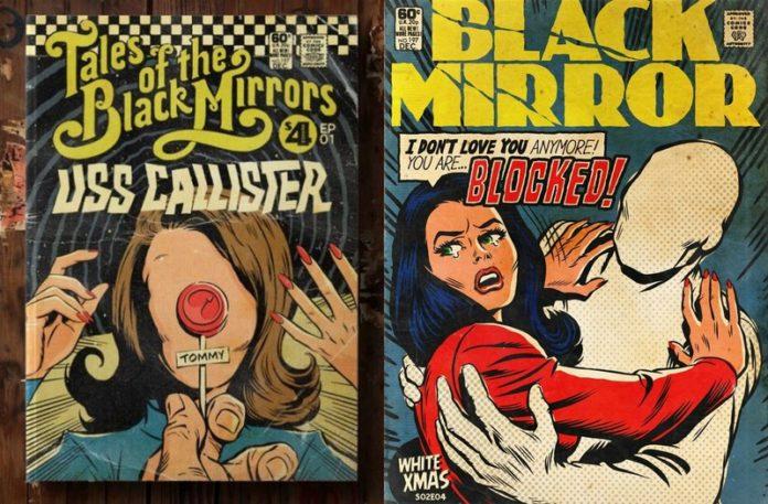 Dwie okładki komiksu Black Mirror