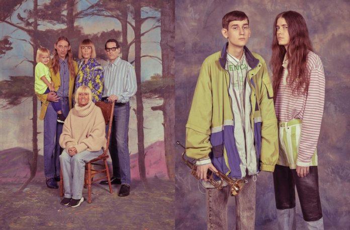 Dwa zdjęcia przedstawiające ludzi ubranych w oldschoolowe ubrania