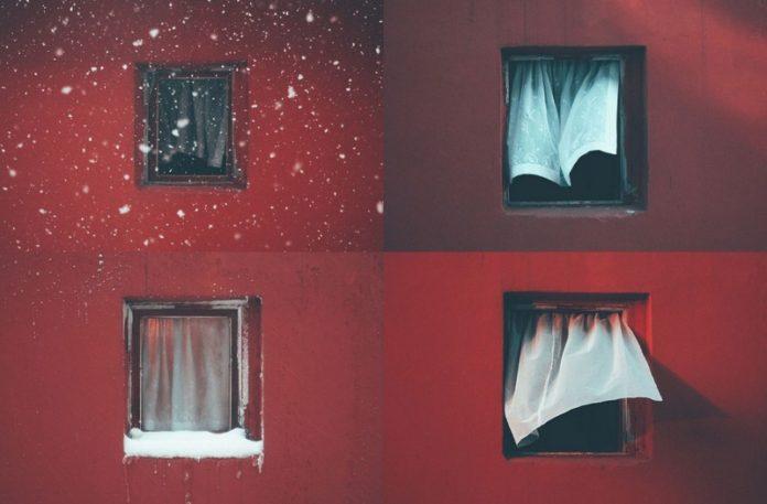 Cztery zdjęcia tego samego okna