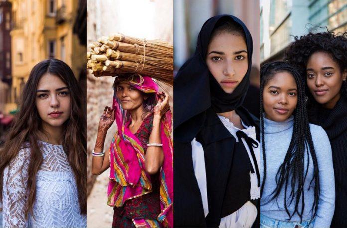 Cztery zdjęcia kobiet różnych ras