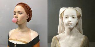 Dwie klasyczne rzeźby: jedna z gumą do żucia, druga z lizakiem