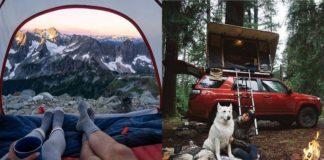 Dwa zdjęcia przedstawiające ludzi mieszkających w samochodach