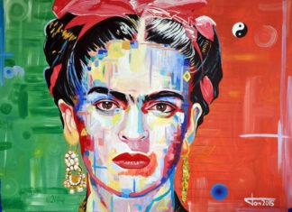 Obraz przedstawiający kobiete, ciemne wlosy, bardzo kolorowe barwy