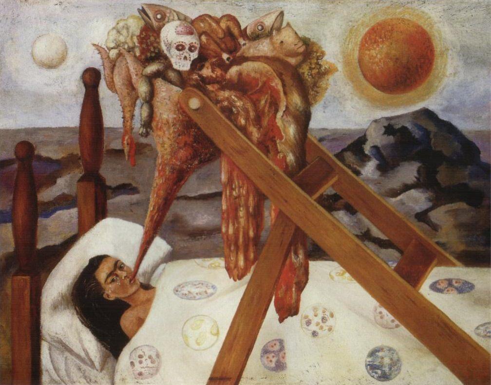 Obraz przedstawiający kobietę lężącą na łóżku