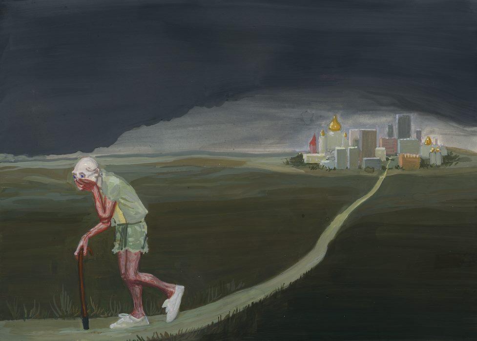 Mężczyzna o lasce idący drogą