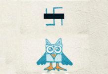 Zamalowany symbol nazistowski na sowę