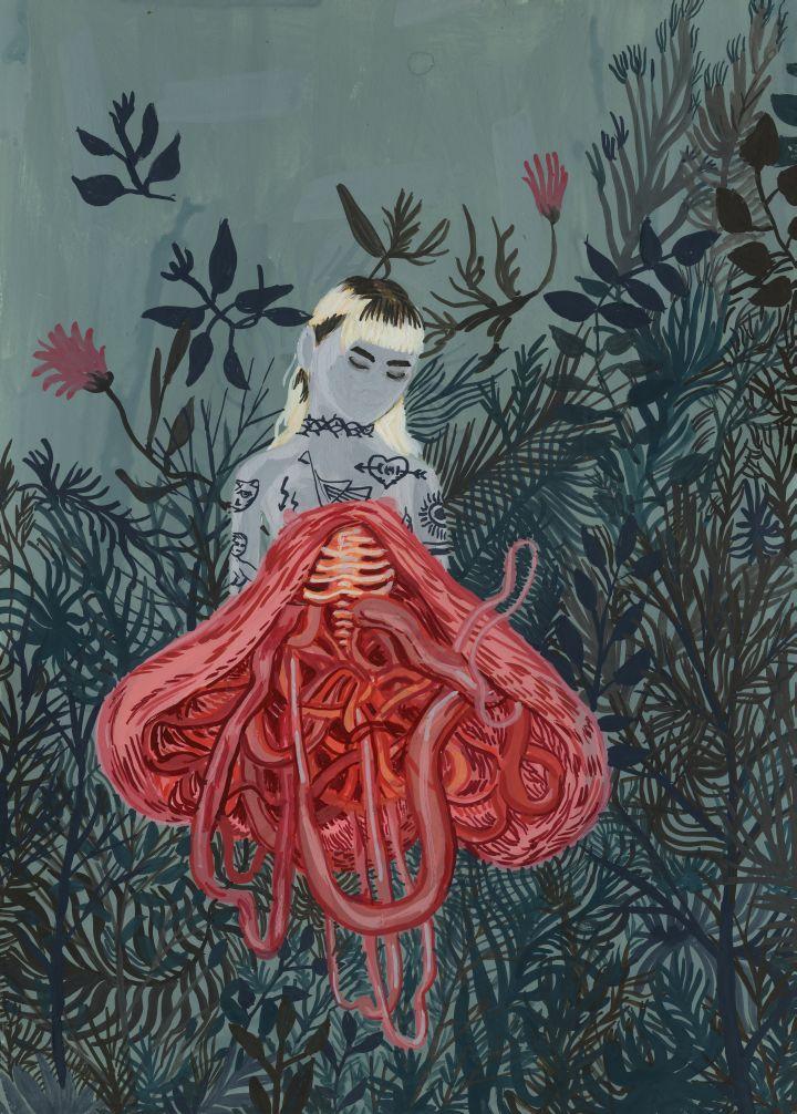 Surrealistyczny obraz przedstawiający dziewcyznkę wśród kwiatów
