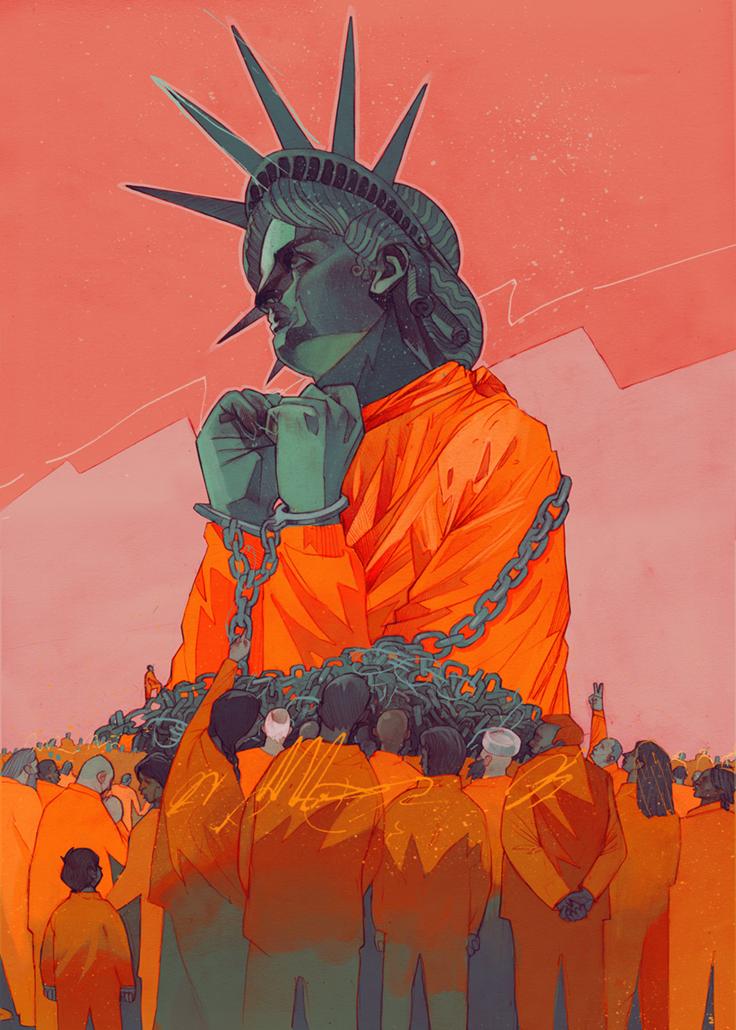 Na ilustracji widzimy na pomaranczowym tle duza statue wolnosci ubrana w pomaranczowy mundurek wiezienny jej rece sa w kajdankach wokol statuy wolnosci zebral sie tlum wiezniow w identycznych mundurach