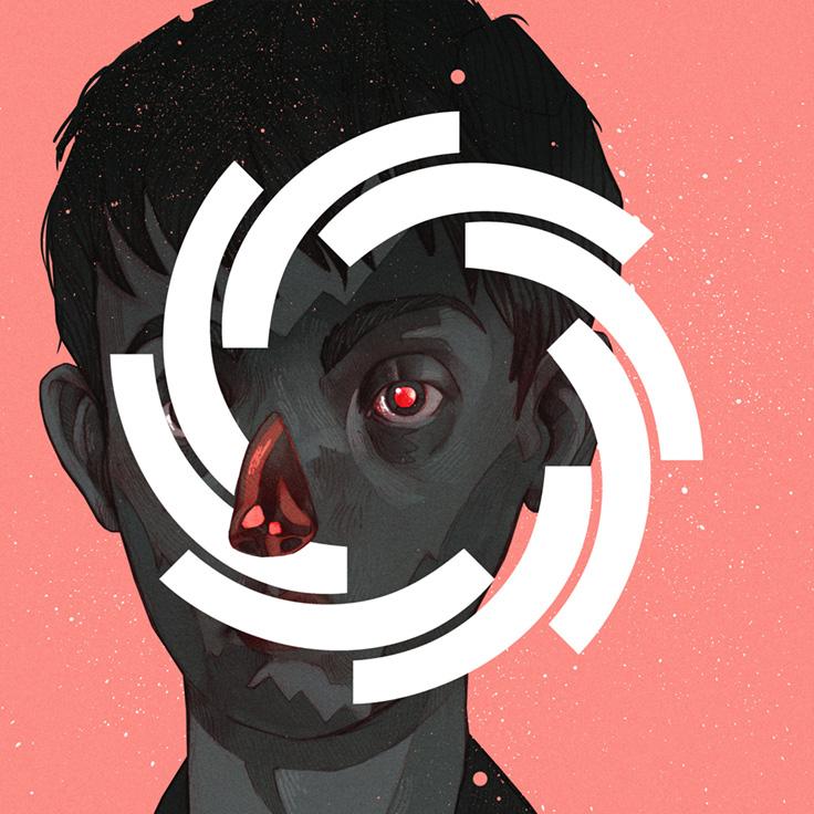 Ilustracja czarnego chlopca z czerwonym okiem i nosem na rozowy tle na jego twarzy narysowane jest kolko z bialych kresek