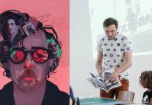 Na ilustracji widzimy postac Tima Burtona na jego wlosach oraz okularach widnieja postaci z filmow ktore stworzyl