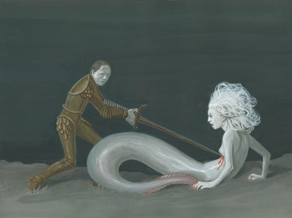 Syrena i mężczyzna wbijający jej nóż