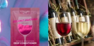 Maseczka na włosy z czerwonego wina i dwa kieliszki z winem