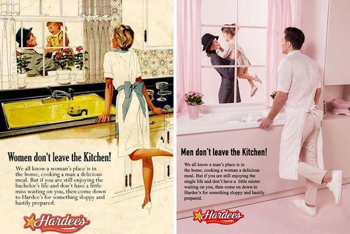 Dwie reklamy przedstawiajáce odwrocone role plciowe
