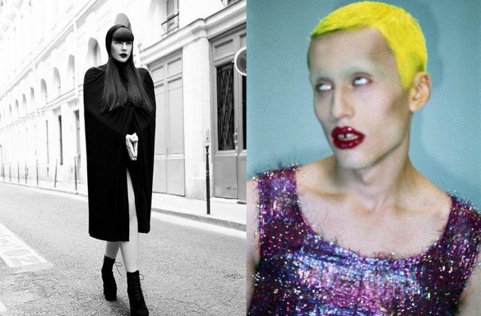 Czarno-białe zdjęcie dziewczyny w płaszczu, obok zdjęcie drag queen z żółtymi włosami i w brokatowej sukience