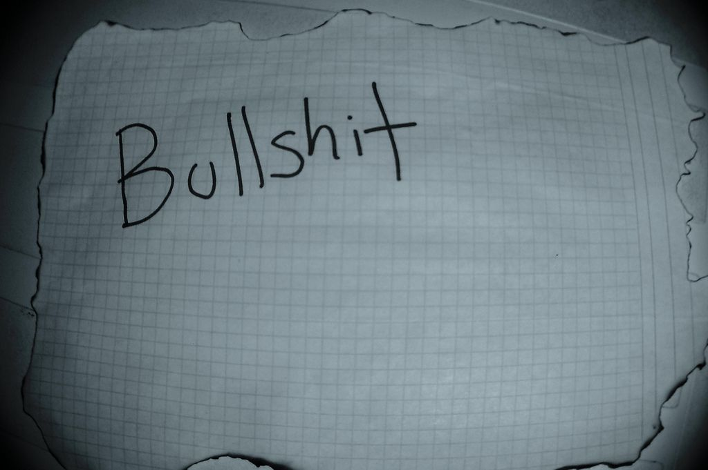 Napis Bullshit na kartce w kratkę opalonej dookoła