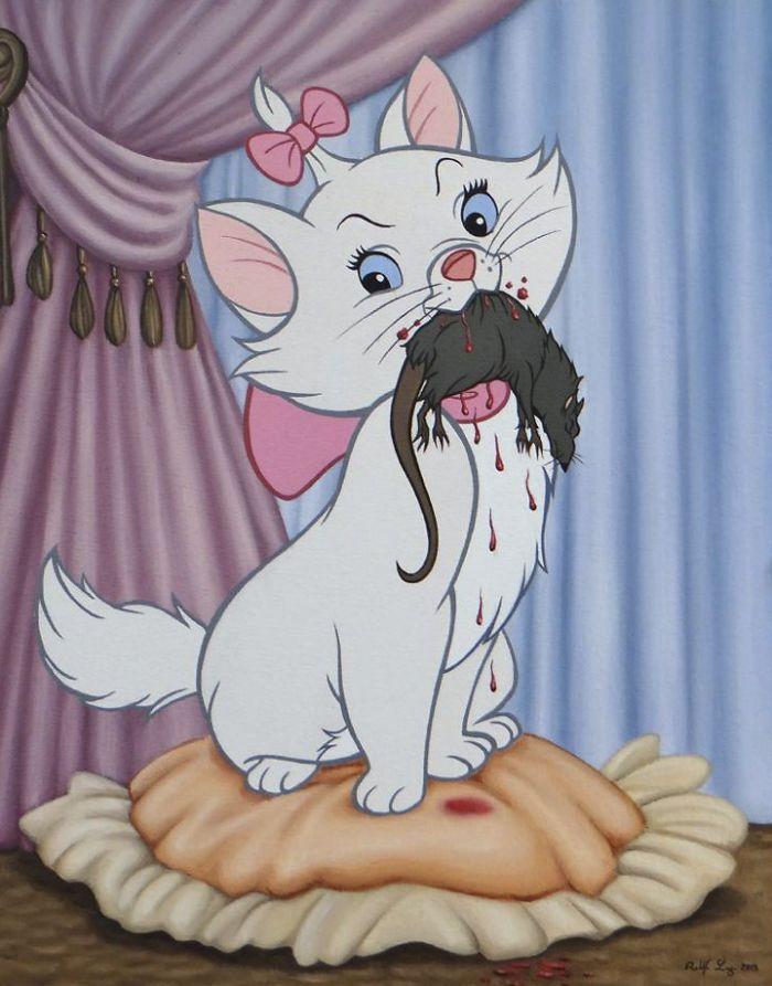 Rysunek przedstawiający kota trzymającego w pysku martwą mysz