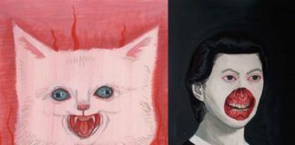 Obraz przedstawiający diabelskiego kota i dziewczynkę bez fragmentu skóry na ustach