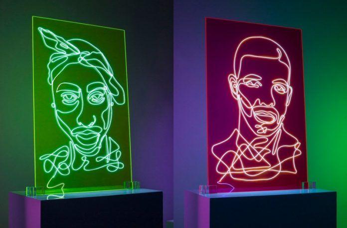 Neonowe obrazy przedstawiające raperów