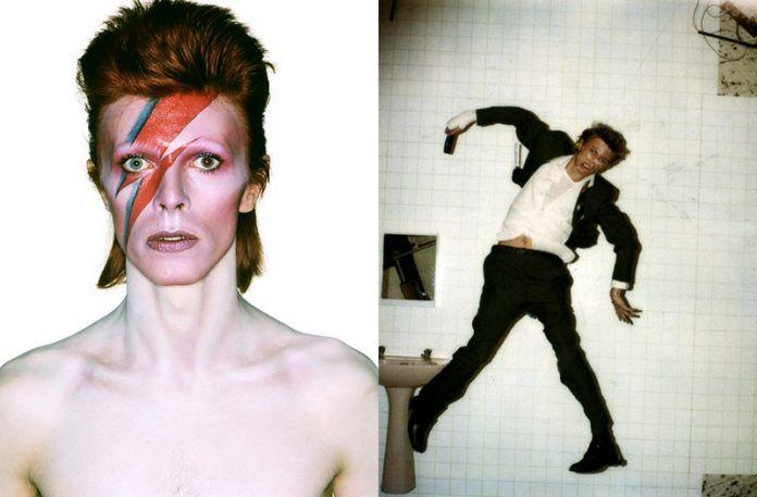 Dwa zdjęcia: mężczyzna z piorunek na twarzy i mężczyzna przytwierdzony do ściany