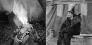 Dziewczyna ziejąca ognien i mężczyzna w stroju niedźwiedzia