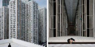 Dwa zdjęcia przedstawiające Hong Kong