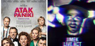Plakaty zapowiadające film Atak Paniki i imprezę na Smolnej