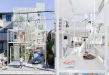 Dwa zdjecia przedstawiające szklany dom z zewnątrz i w środku