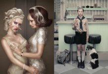 Dwa zdjęcia przedstawiające kobiety z surrealistycznymi kształtami i chłopca w mundurku z lodem w ręku