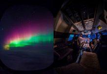 Zdjęcie zorzy polarnej, a obok zdjęcie pilota